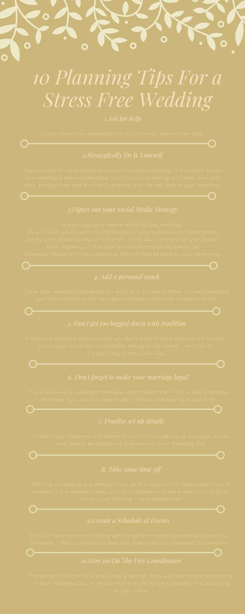 planning tips for a stress free wedding
